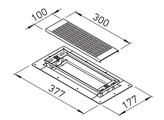 grille de sol inox 300 100mm pour pl num de sol rond et plat. Black Bedroom Furniture Sets. Home Design Ideas