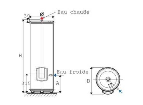 chauffe eau lectrique blindes vertical sur socle 200l. Black Bedroom Furniture Sets. Home Design Ideas